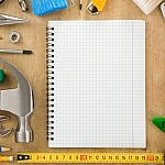 construction tools and notebook